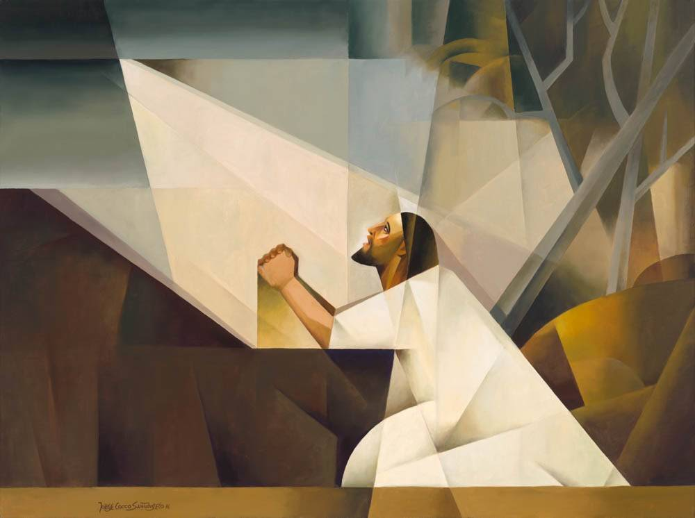 Abstract painting of Jesus praying in the Garden of Gethsemane.