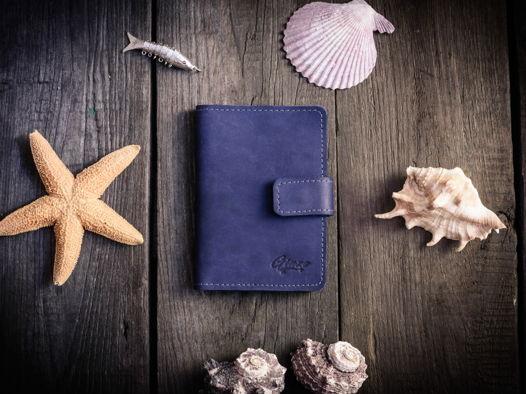 Обложка для автодокументов из кожи -CHASE- цвет Синий Океан