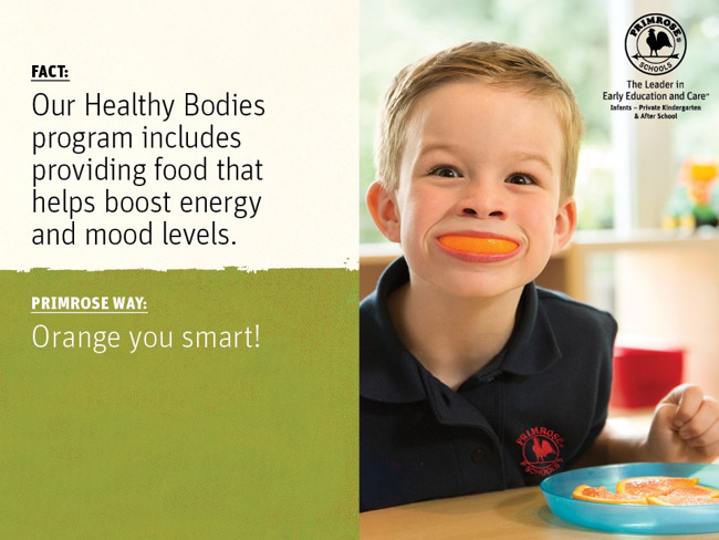Poster featuring a scientific fact about foods next to a boy smiling with an orange slice in his mouth