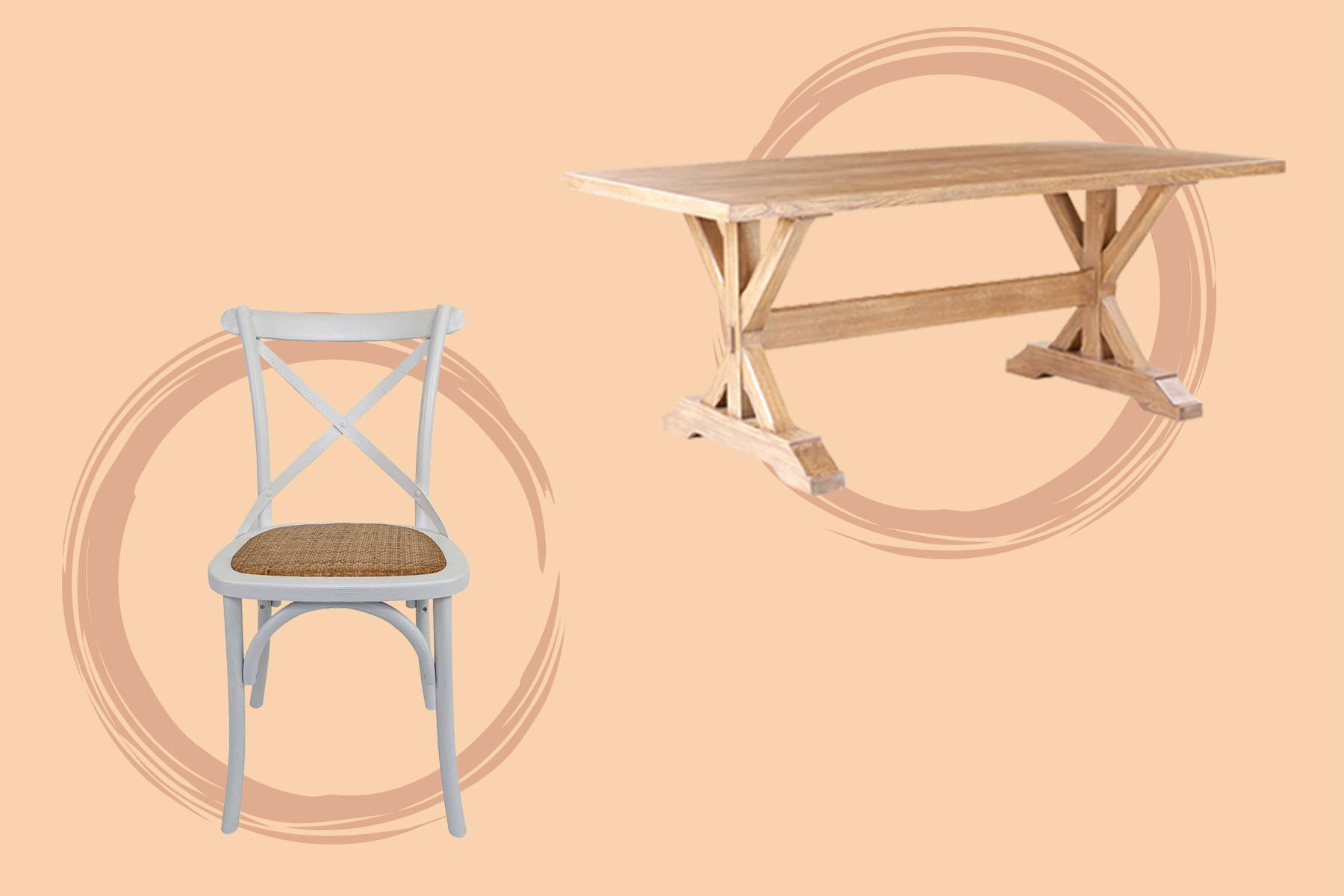 a white dining chair and a wooden table