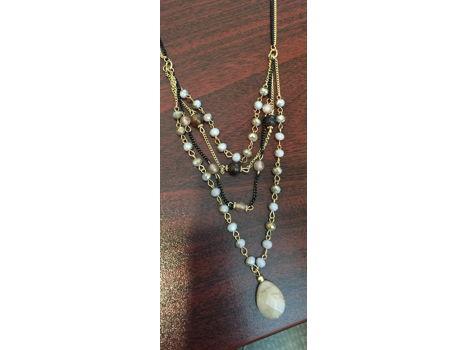 Black & Gold Chain Pendant Necklace