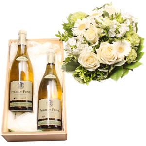 bouquet blanc avec 2 bouteilles de pouilly fum fleurop interflora belgique. Black Bedroom Furniture Sets. Home Design Ideas