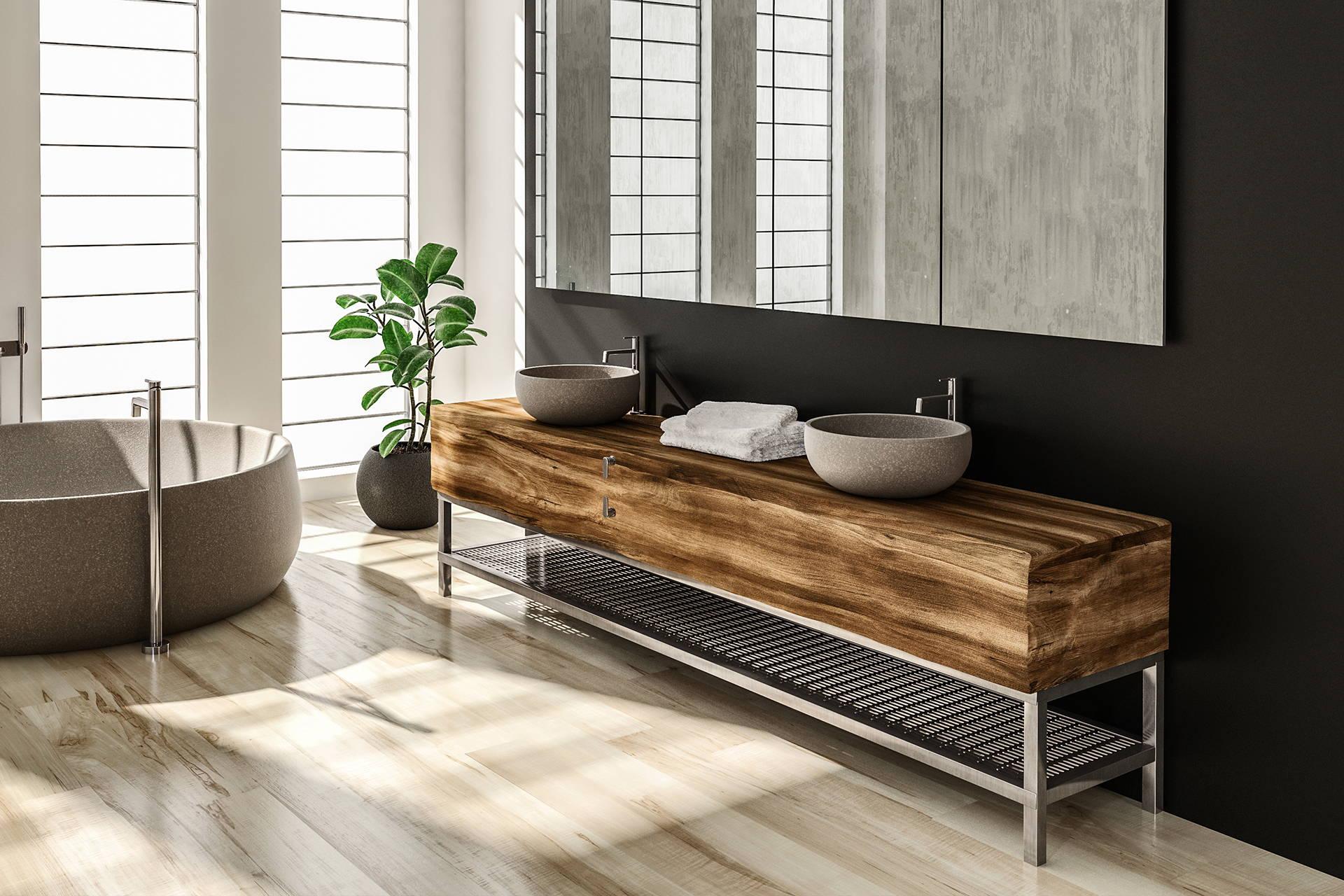 Mauble double vasque salle de bain bois brut