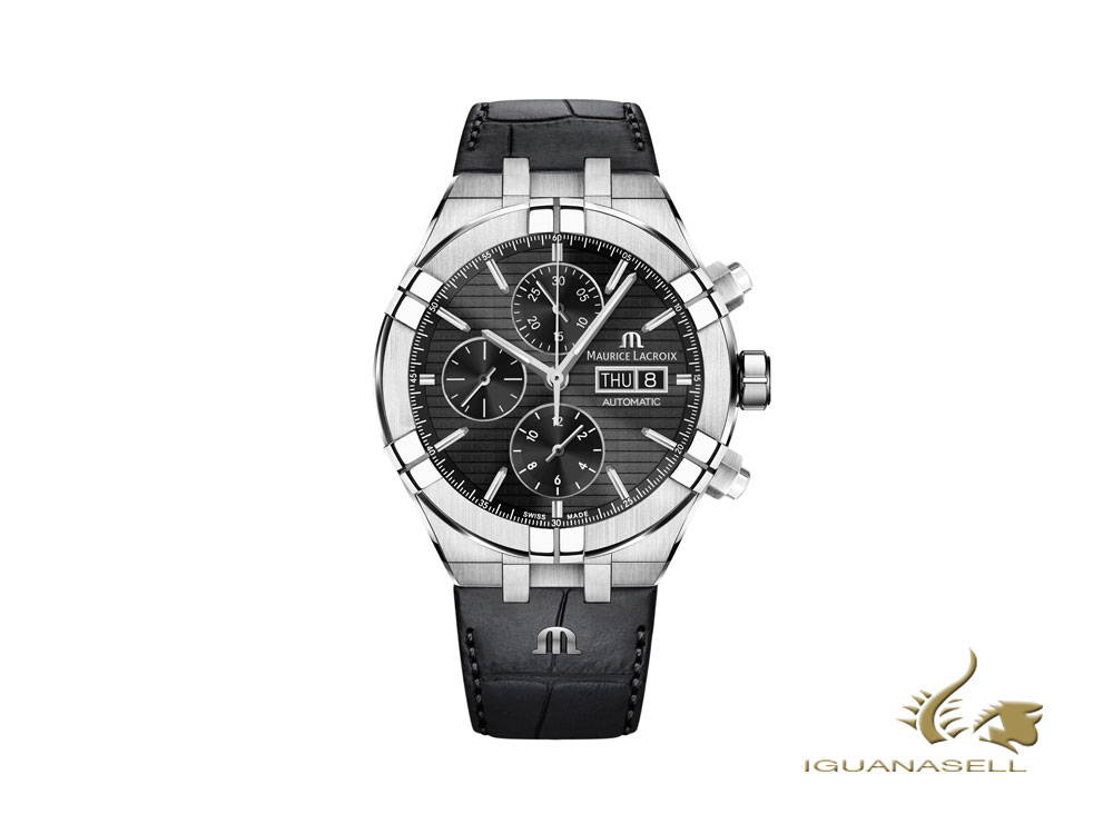 Maurice Lacroix Aikon Chronograph automatic watch, black, leather strap
