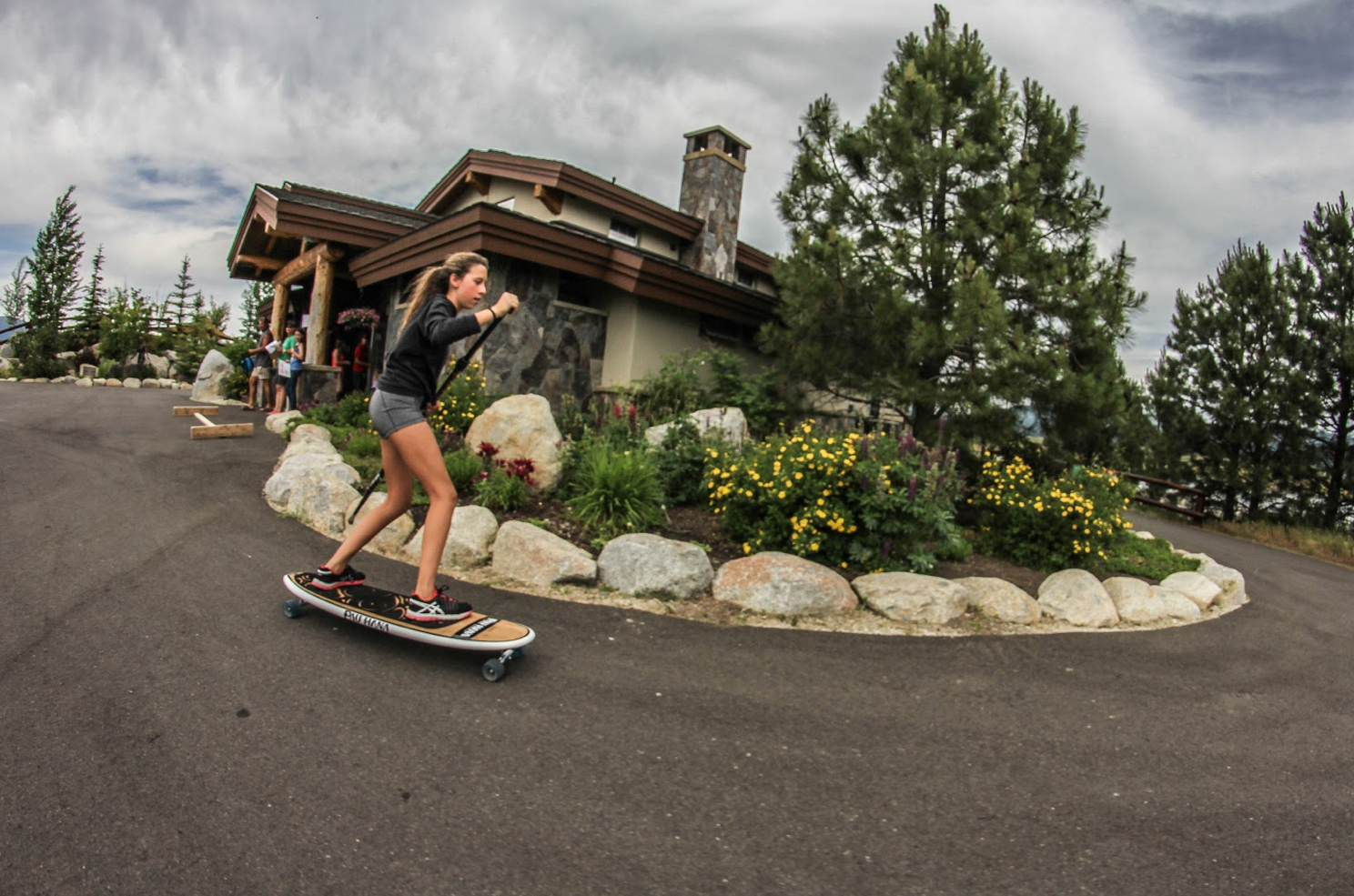 Riding the Pau Hana Oahu sk8 skateboard in Colorado