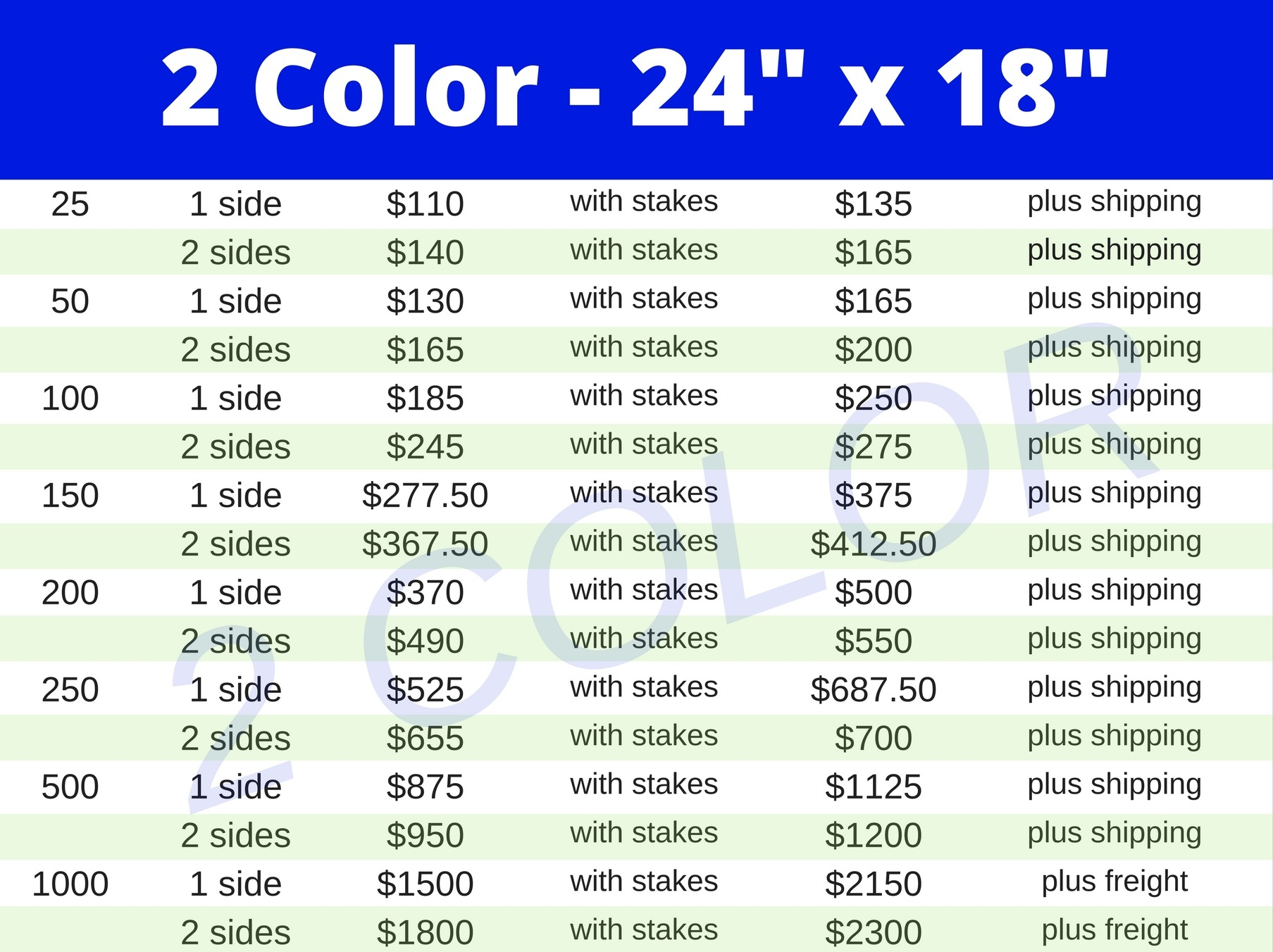 24x18 two color yard sign pricing