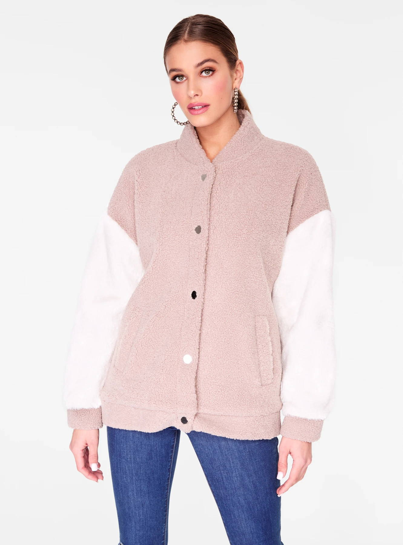 Mauve Oversized Faux Fur Varsity Jacket