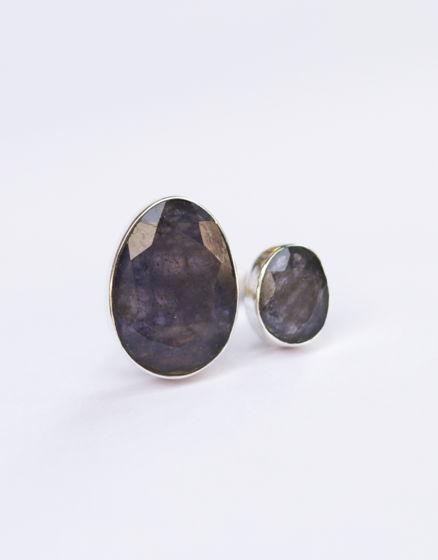Серебряное кольцо с двумя натуральными камнями
