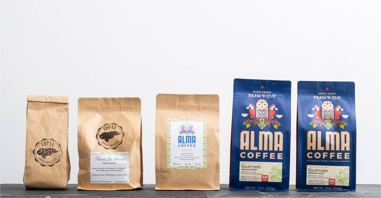 Five bags of Alma Coffee, from the early design to the latest desgin.