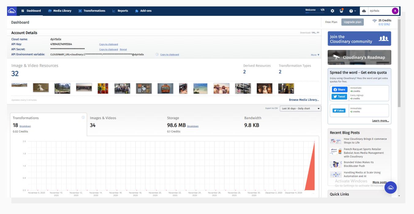 Cloudinary dashboard main page