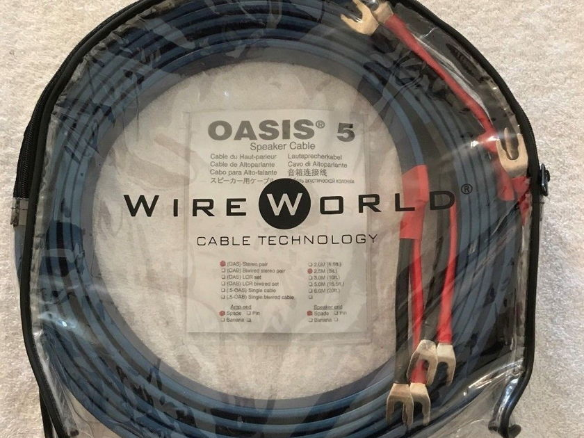 Wireworld oasis 5  Speaker Cable Pair 2.5M Long  Spade Ends Stereo Pair New