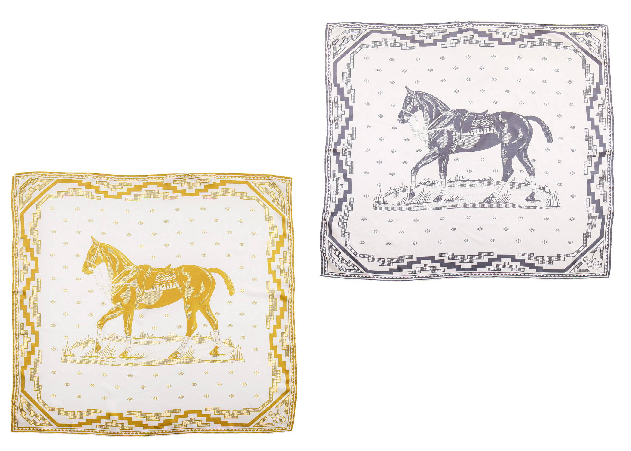 Display of Stick & Ball equestrian-inspired handmade Grey & gold Polo Pony Silk Scarf