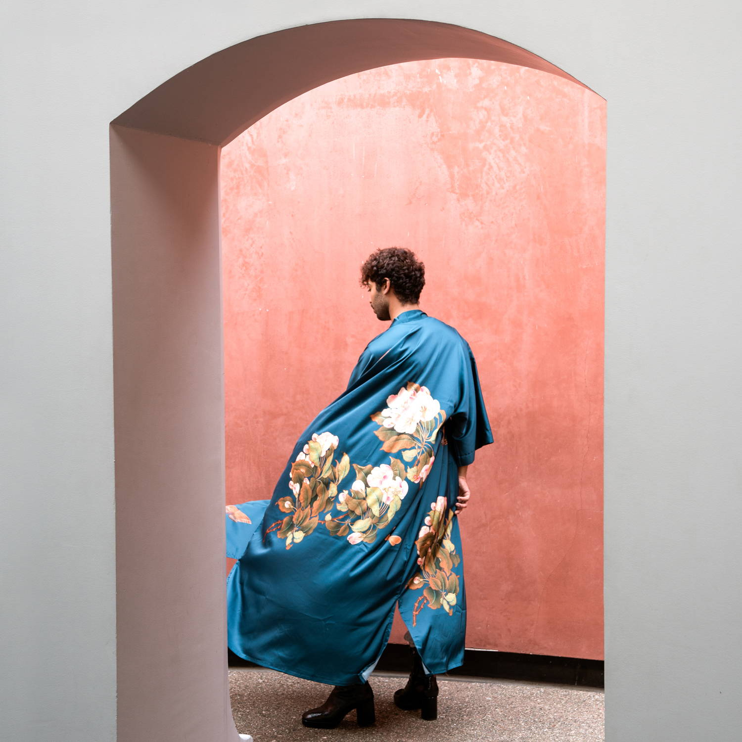 Peony & Butterfly Charmeuse Kimono Robe in Vintage Teal
