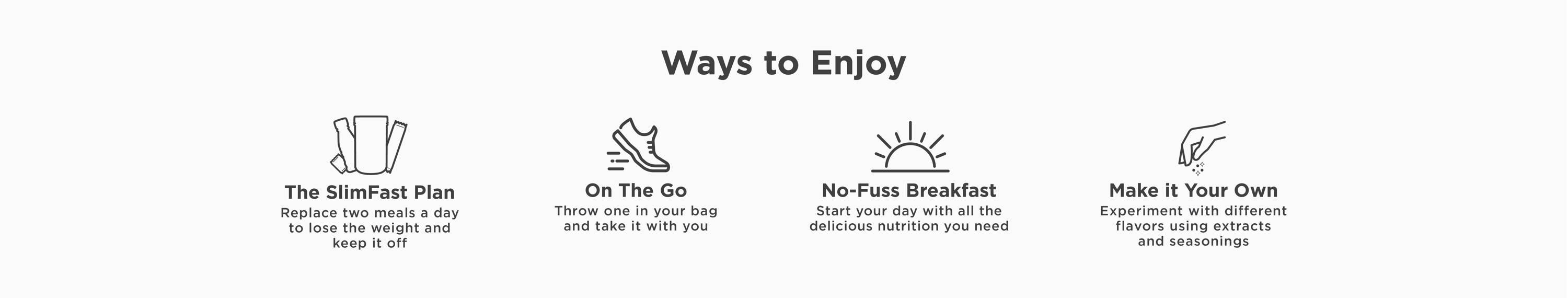 Ways to enjoy Original Shakes: Use them on the SlimFast plan, take them on the go, have a no-fuss breakfast, or make it your own