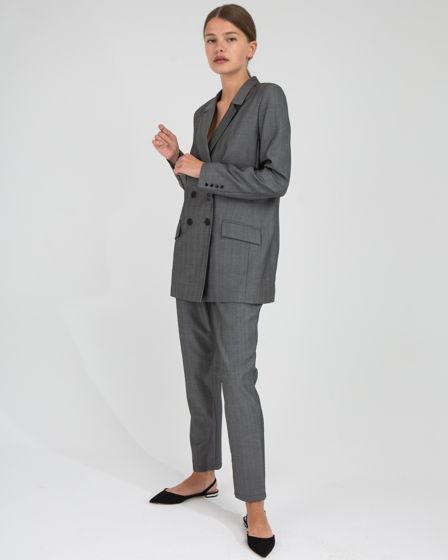 Серый брючный костюм, натуральная ткань