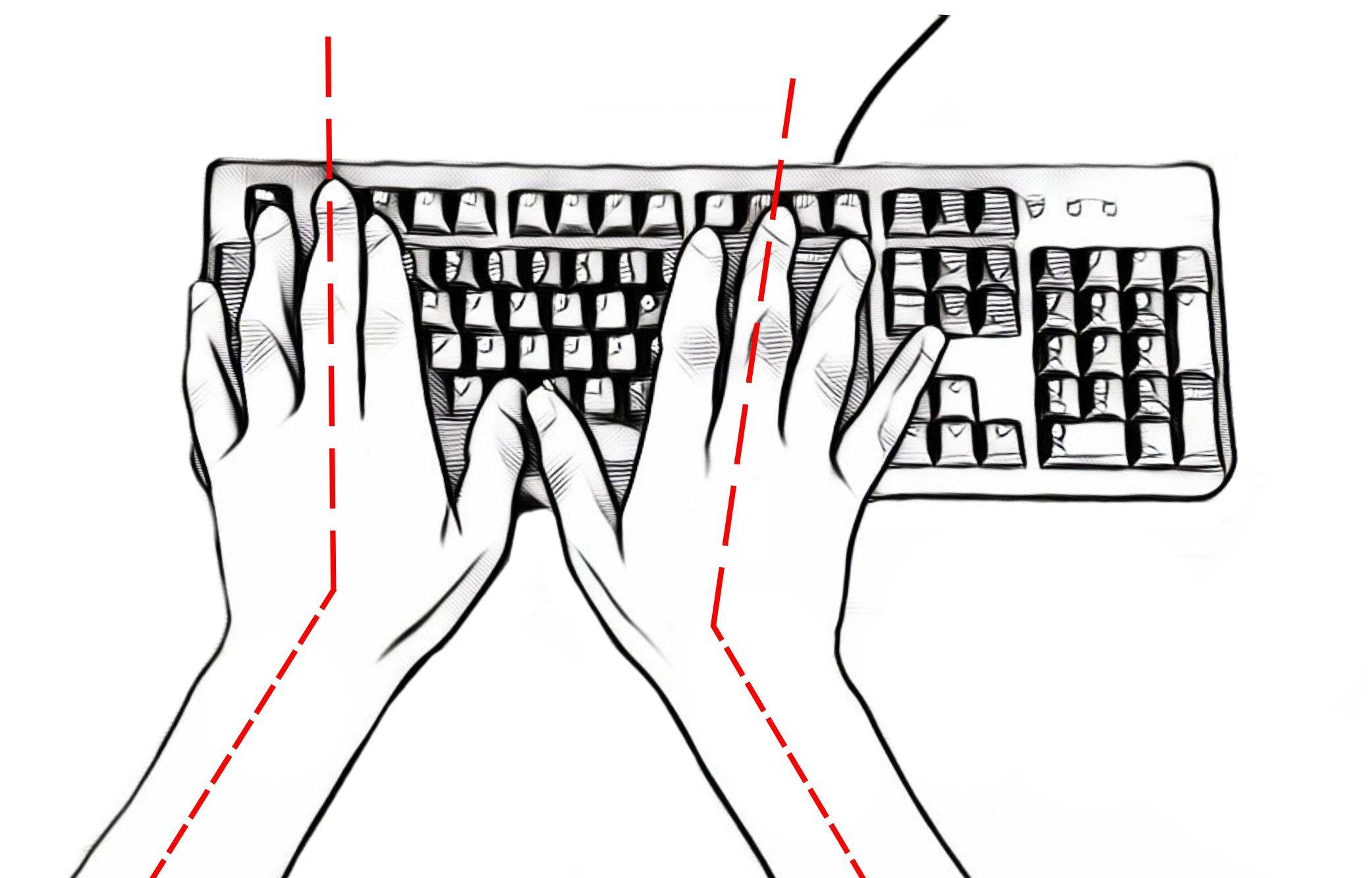 standard keyboard over-stretched hands