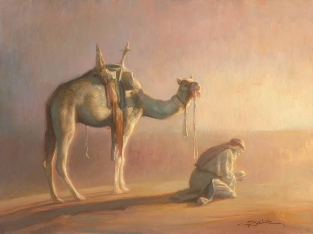 Lehi praying the desert next to his camel.