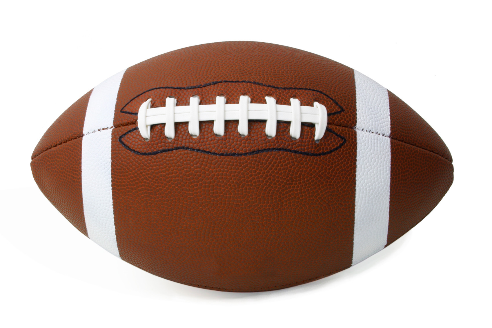 A brown and white football is against a white background.