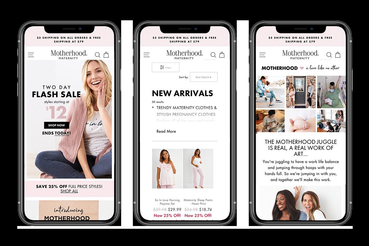 Motherhood website on mobile devices