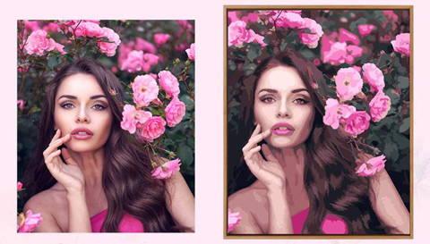 peinture par numero personnalisée d'une femme devant un rosier