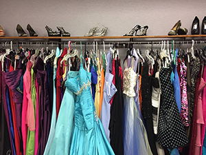 Project Prom dress rack and shoes