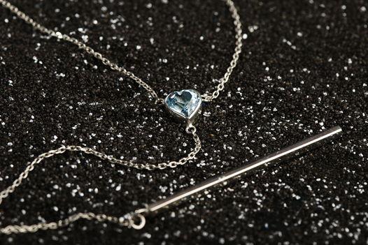 Y-подвеска с камнем и серебряной пластиной (голубой топаз/дымчатый кварц)