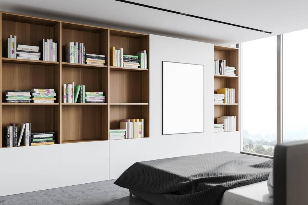 Bibliothèque en bois mur chambre
