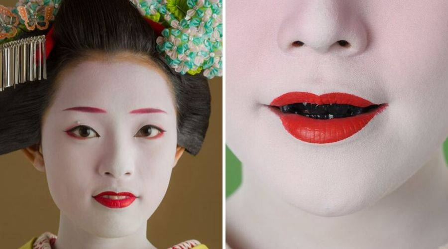 Maiko with makeup and blackened teeth
