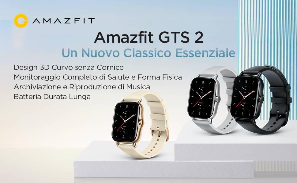 Amazfit GTS 2 -  Un Nuovo Classico Essenziale : Design 3D Curvo senza Cornice | Monitoraggio Completo di Salute e Forma Fisica | Archiviazione e Riproduzione di Musica | Batteria Durata Lunga.