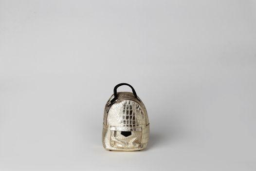 Кожаный  мини рюкзак-трансформер с эффектом фольгирования  ORION GOLD leather backpack. В наличии в Москве