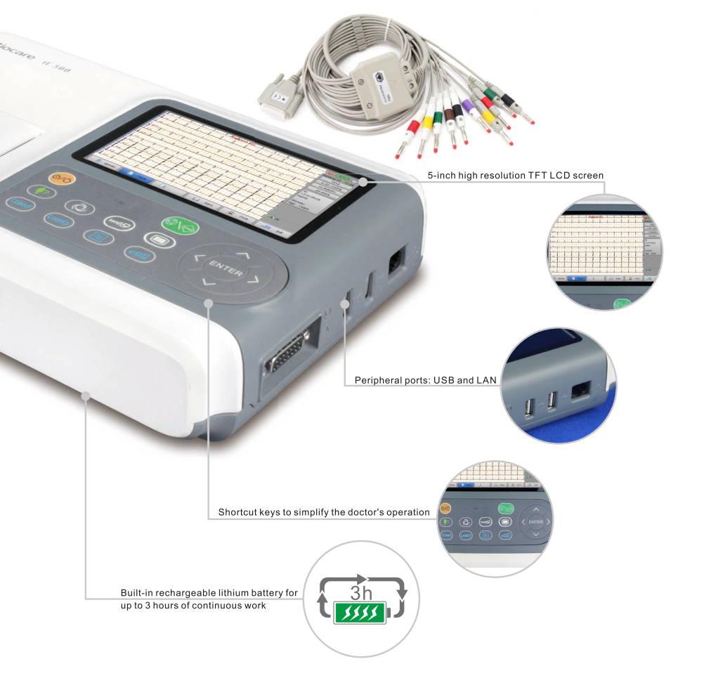 جهاز Wellue Biocare ECG يعرض تفاصيل التكبير وحجم الشاشة والمنافذ والمفاتيح القصيرة وعمر البطارية.