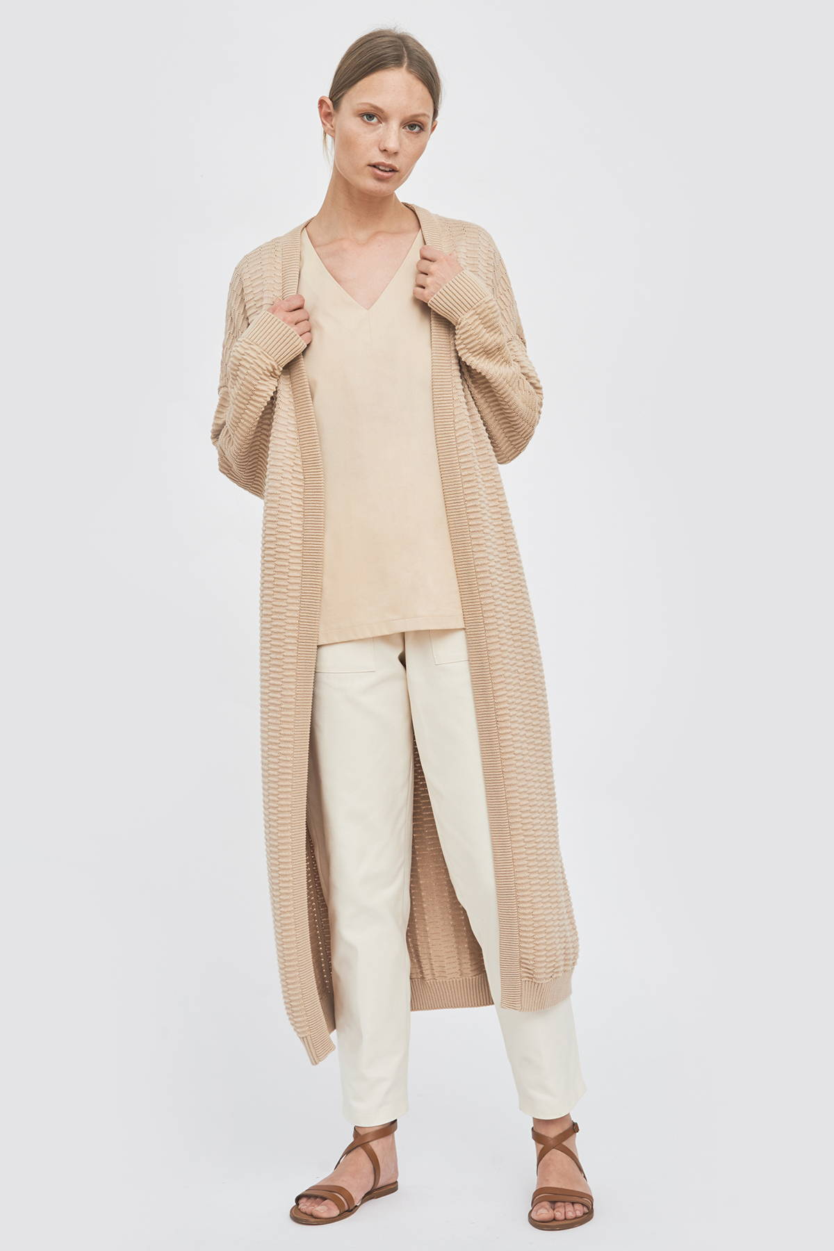 Sustainable organic-cotton knitwear summer knitted cardigan