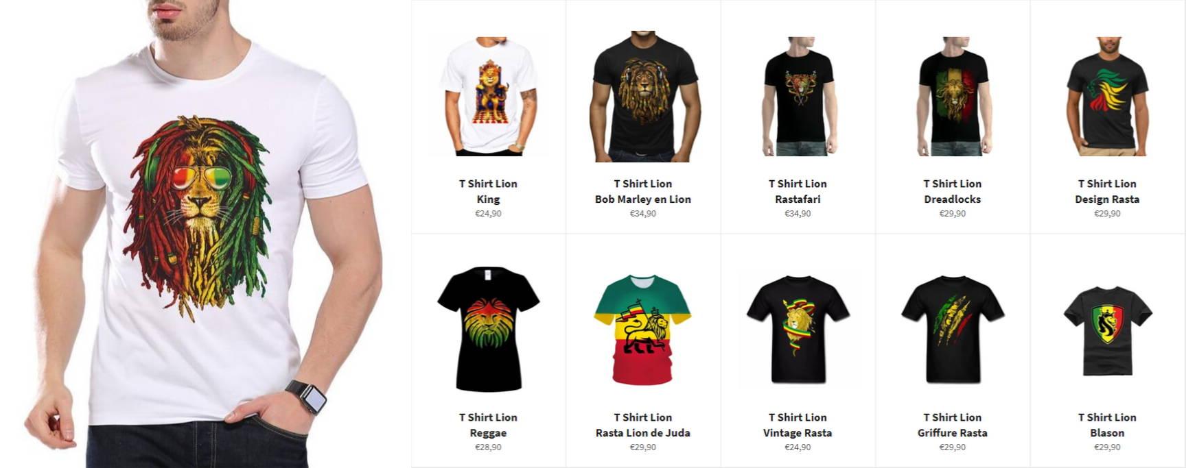 t shirt lion rasta