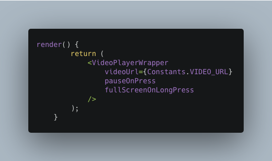 Calling the reusable component VideoPlayerWrapper