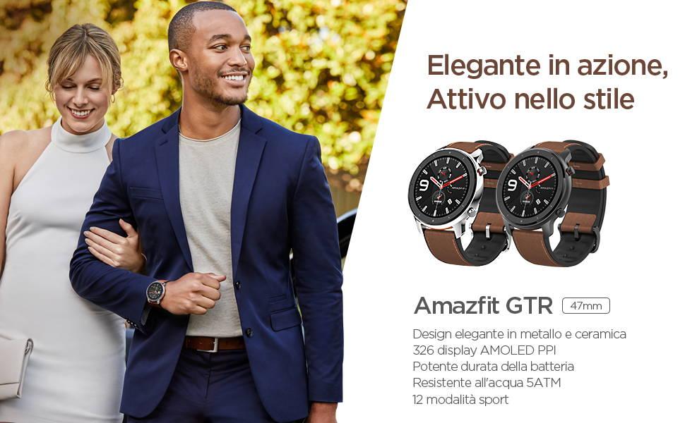 Amazfit GTR 47 mm - Design elegante in metallo e ceramica  Display AMOLED di qualità retina | Potente durata della batteria  Resistente all'acqua fino a 50 metri | 12 modalità sportive