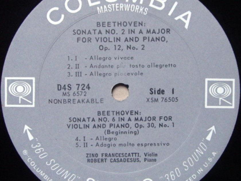 Columbia 2-EYE / FRANCESCATTI-CASADESUS, - Beethoven Complete Violin Sonatas, NM, 4LP Box Set!