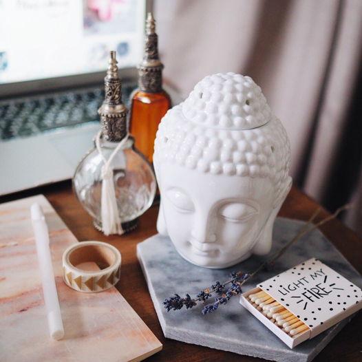 Арома лампа голова Будды белая