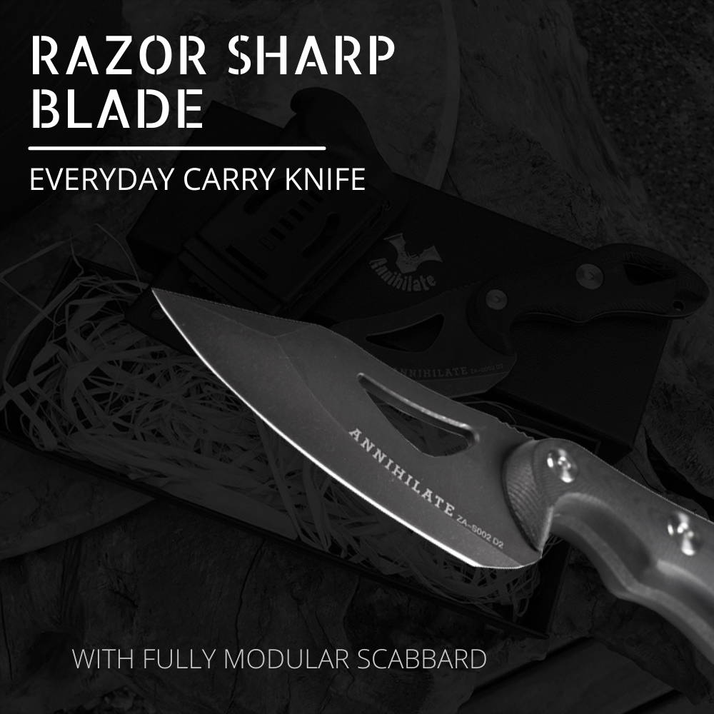 Zune Lotoo Annihilate Knife, Survival Knife, Tactical Knife, EDC Knife, K Sheath, Fully Modular Sheath, G10,Camping Knife, Fix Blade, Fixed Blade Knife