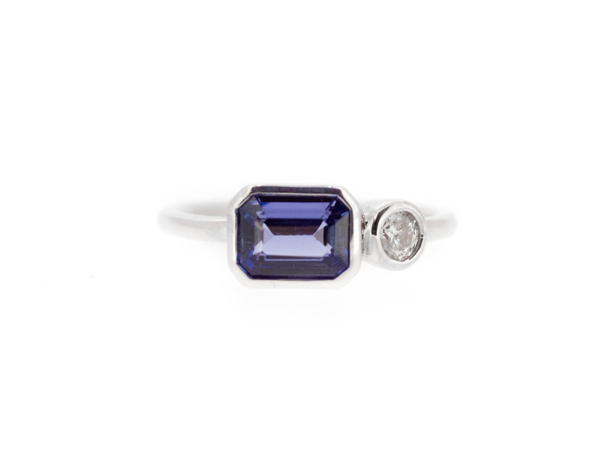 tanzanite and diamond pair ring