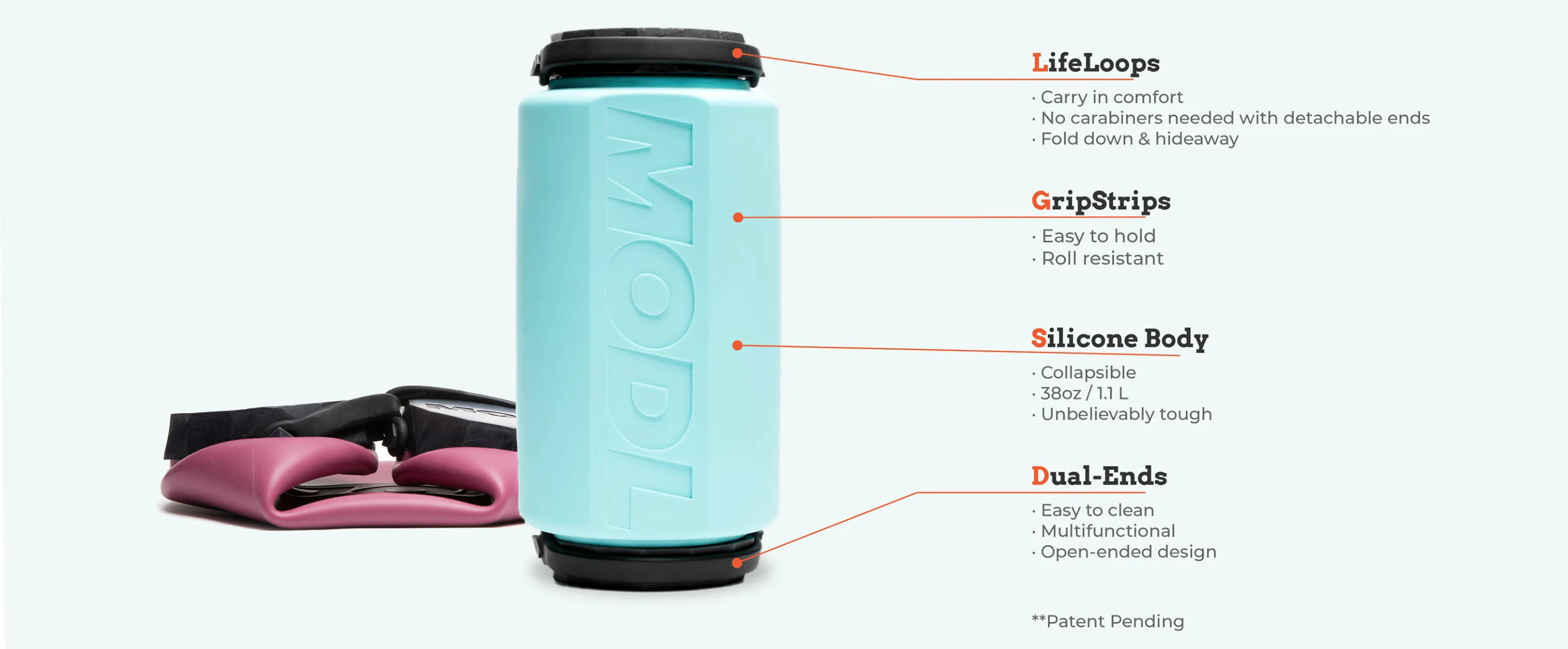 Diagram showing the benefits of MODL water bottle over traditional water bottles