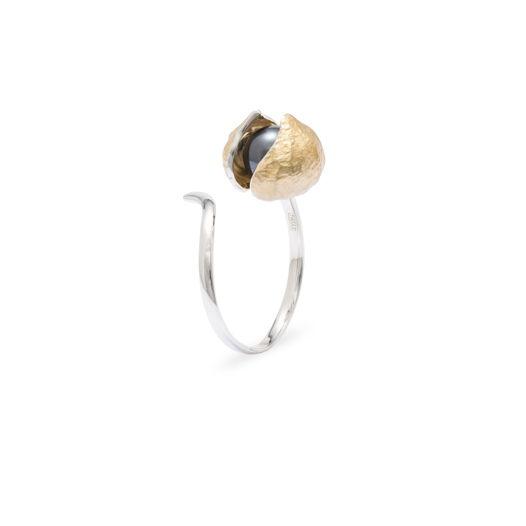 Кольцо Большой бутон Фуксии, закрытый бутон. серебро , позолота черный жемчуг
