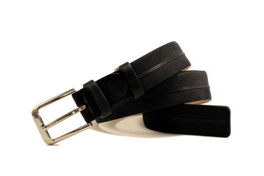 Мужской узкий ремень из нубука (черный)