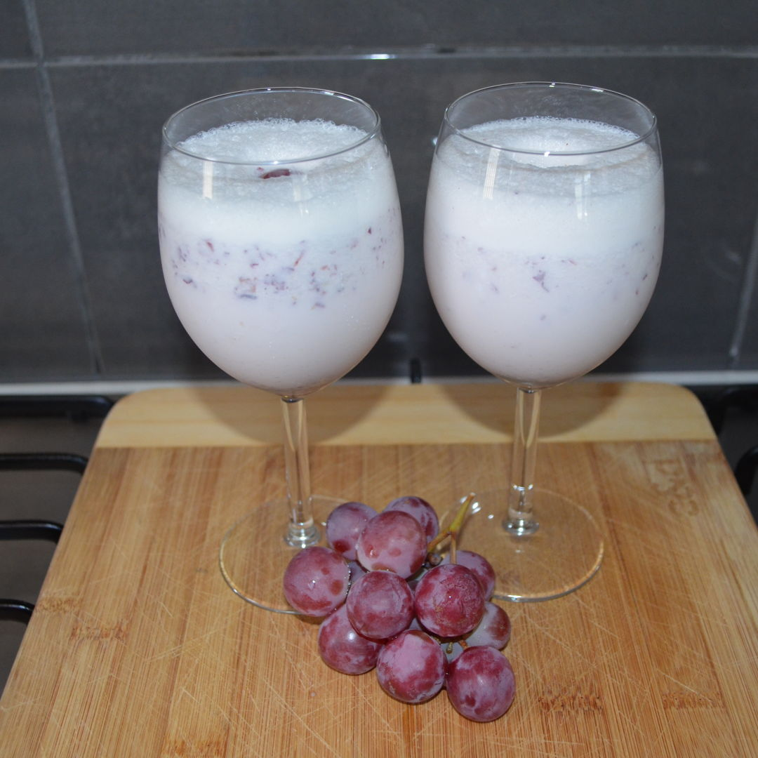 Date: 14 Feb 2020 (Fri) 29th Drink: Spiced Grapes Milkshake [223] [145.3%] [Score: 10.0] Cuisine: Western Dish Type: Drink The milkshake was prepared under Kathy Easter specification (standard) – all milkshakes must have ice-creams. This grapes milkshake was spiced with powdered cardamom and blended with 2 scoops of ice-cream and other ingredients.