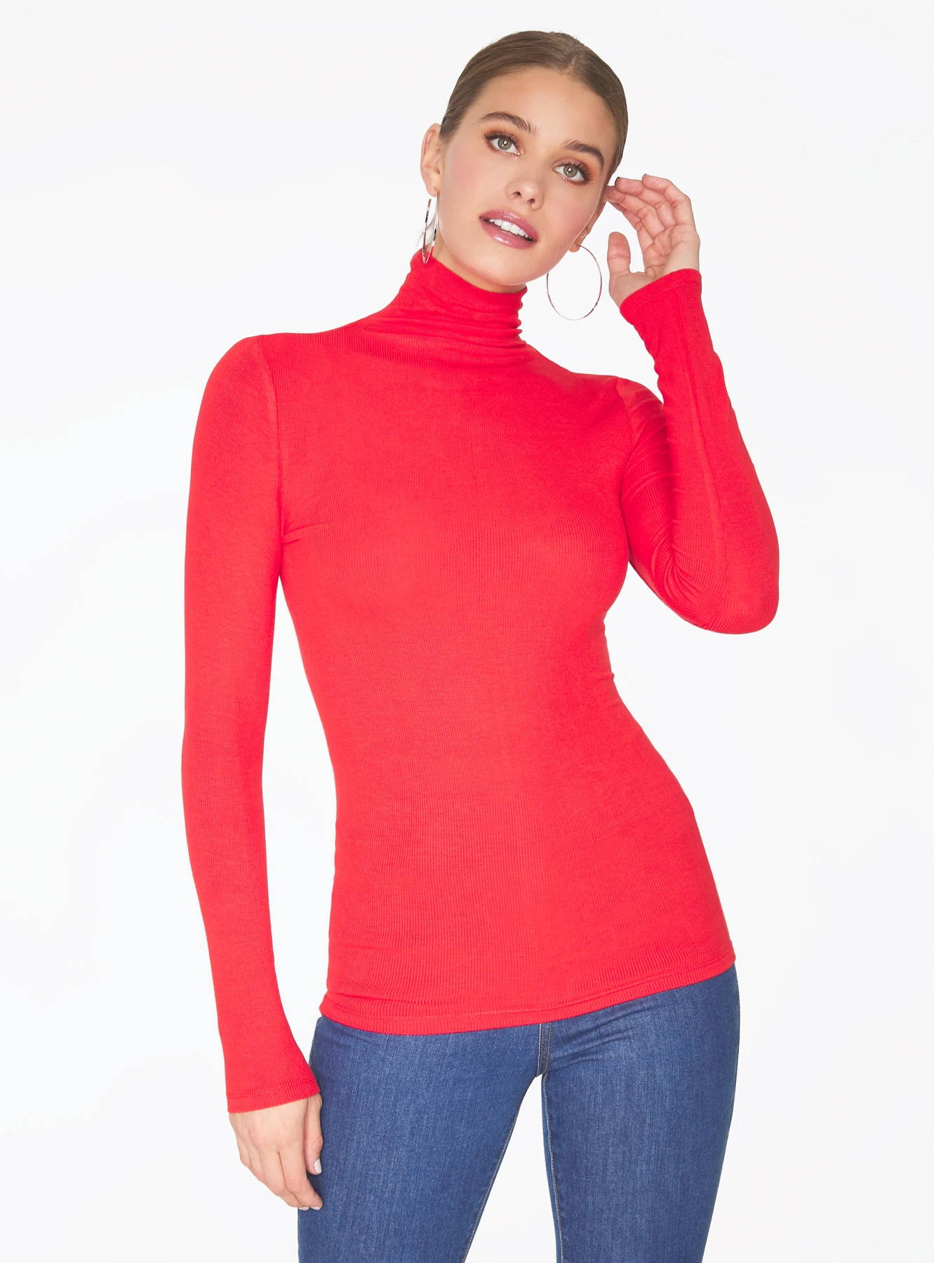 HeyYou Basic Red Ribbed Long Sleeve Turtleneck