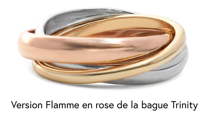 One white gold, one pink gold and one yellow gold rush that intertwine to form a single rush like Cartier's Trinity ring.