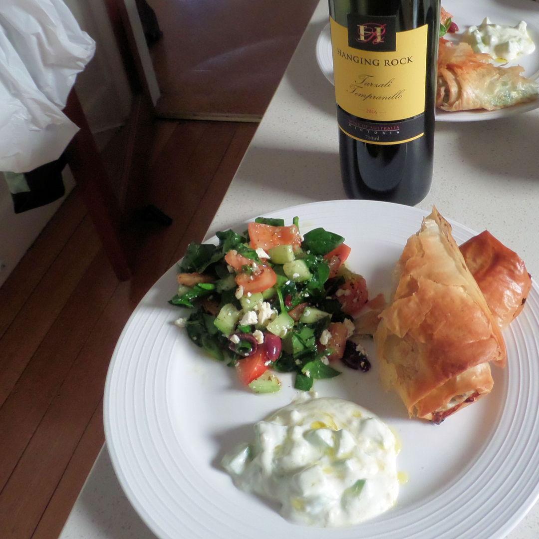 Spanakopita and Tzatziki with a non-authentic Greek Salad.