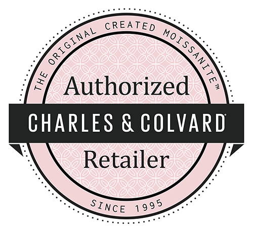 Authorization logo of the distributors of the Charles and Colvard house, manufacturer of moissanite.