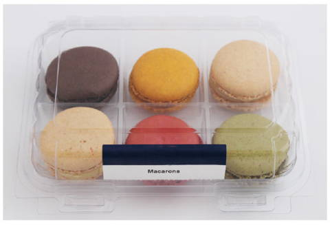 macaron packaging after makeover to eco friendly packaging for baked goods, canada