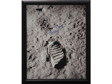 MOON BOOTPRINT CANVAS SIGNED BY BUZZ ALDRIN