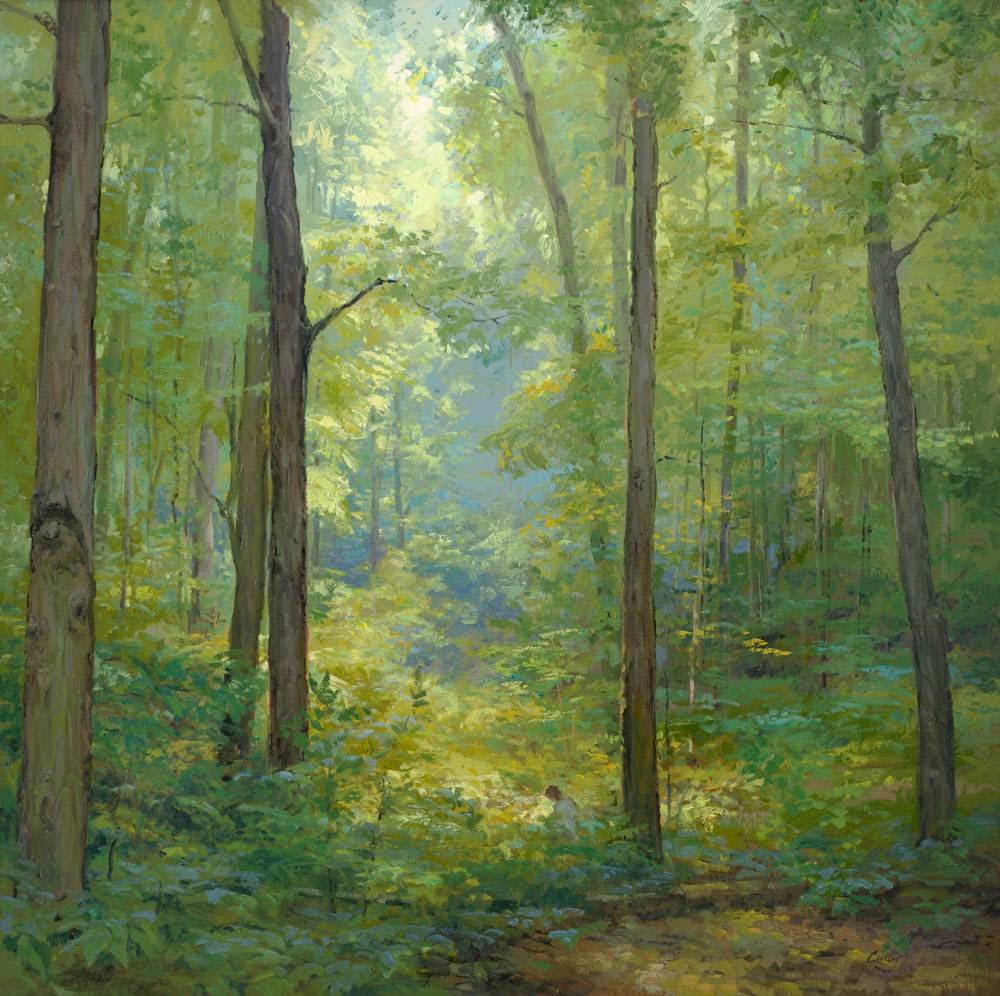 LDS art painting of the Sacred Grove. Joseph can be spotted praying in the distance.